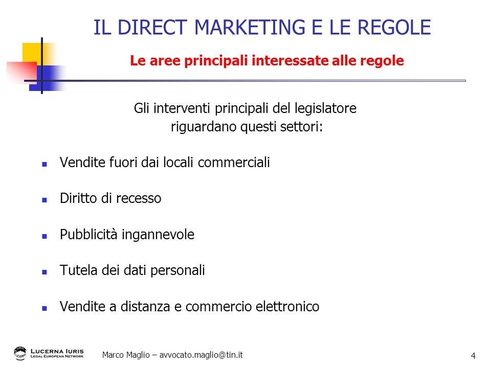 IL DIRECT MARKETING E LE REGOLE Le aree principali interessate alle regole