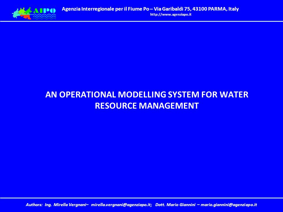 AN OPERATIONAL MODELLING SYSTEM FOR WATER RESOURCE MANAGEMENT