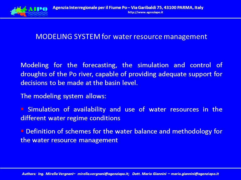 MODELING SYSTEM for water resource management