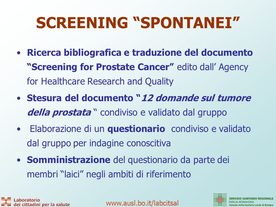 SCREENING SPONTANEI