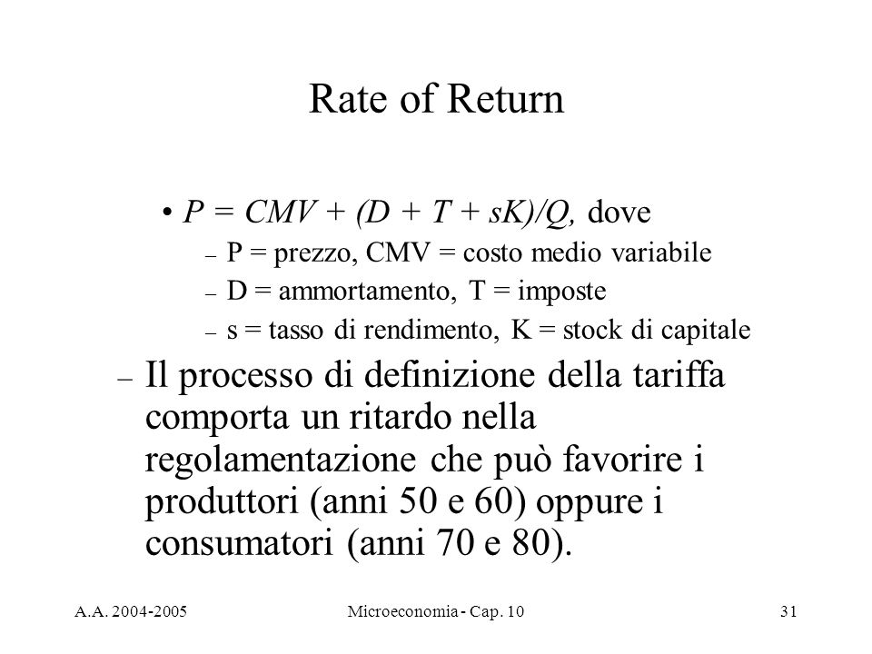 Rate of Return P = CMV + (D + T + sK)/Q, dove. P = prezzo, CMV = costo medio variabile. D = ammortamento, T = imposte.