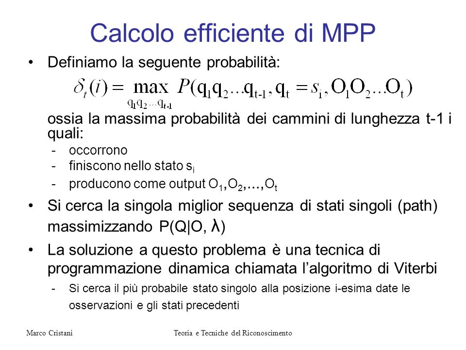 Calcolo efficiente di MPP