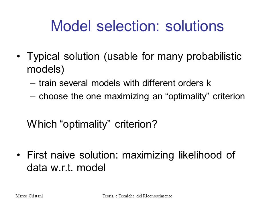 Model selection: solutions