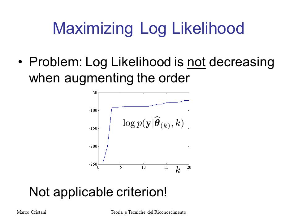 Maximizing Log Likelihood