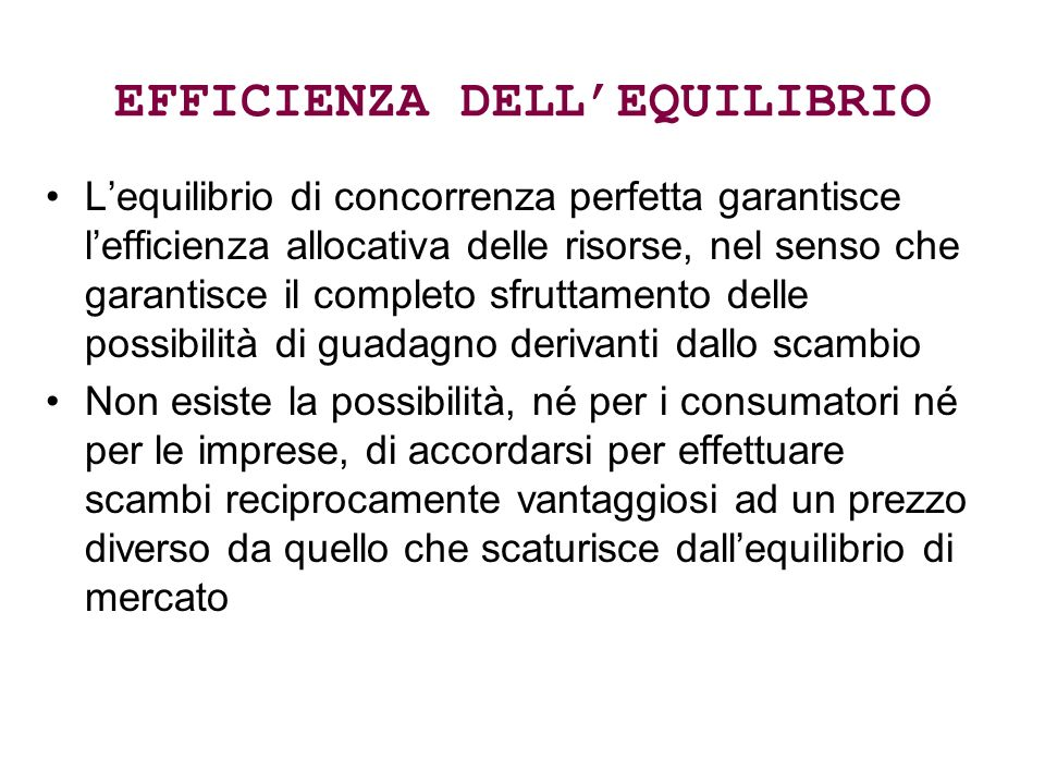 EFFICIENZA DELL'EQUILIBRIO