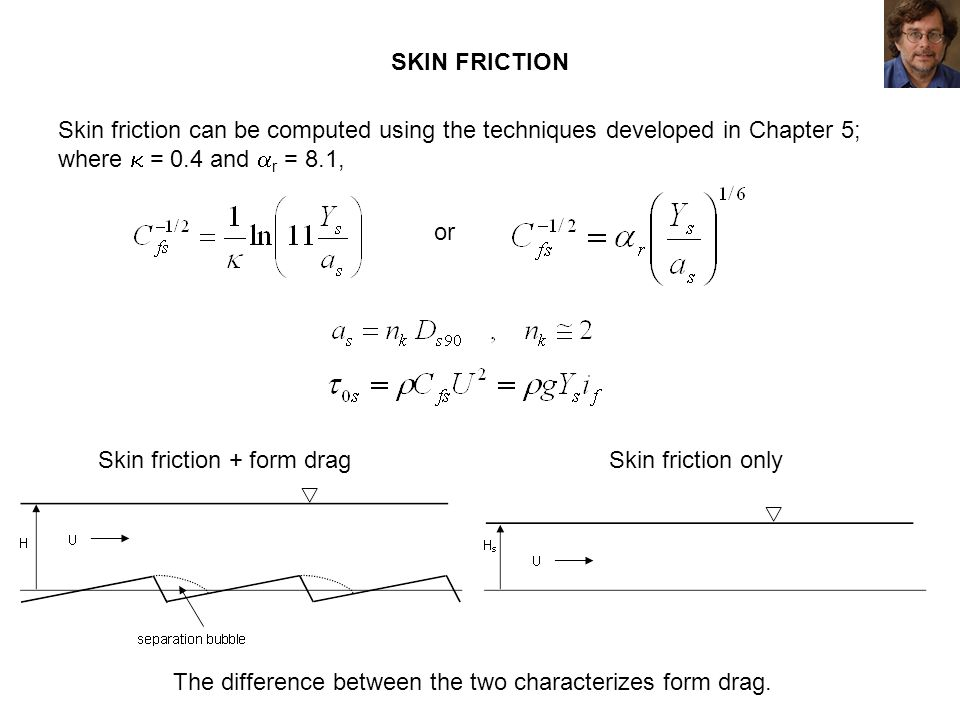 Skin friction + form drag Skin friction only