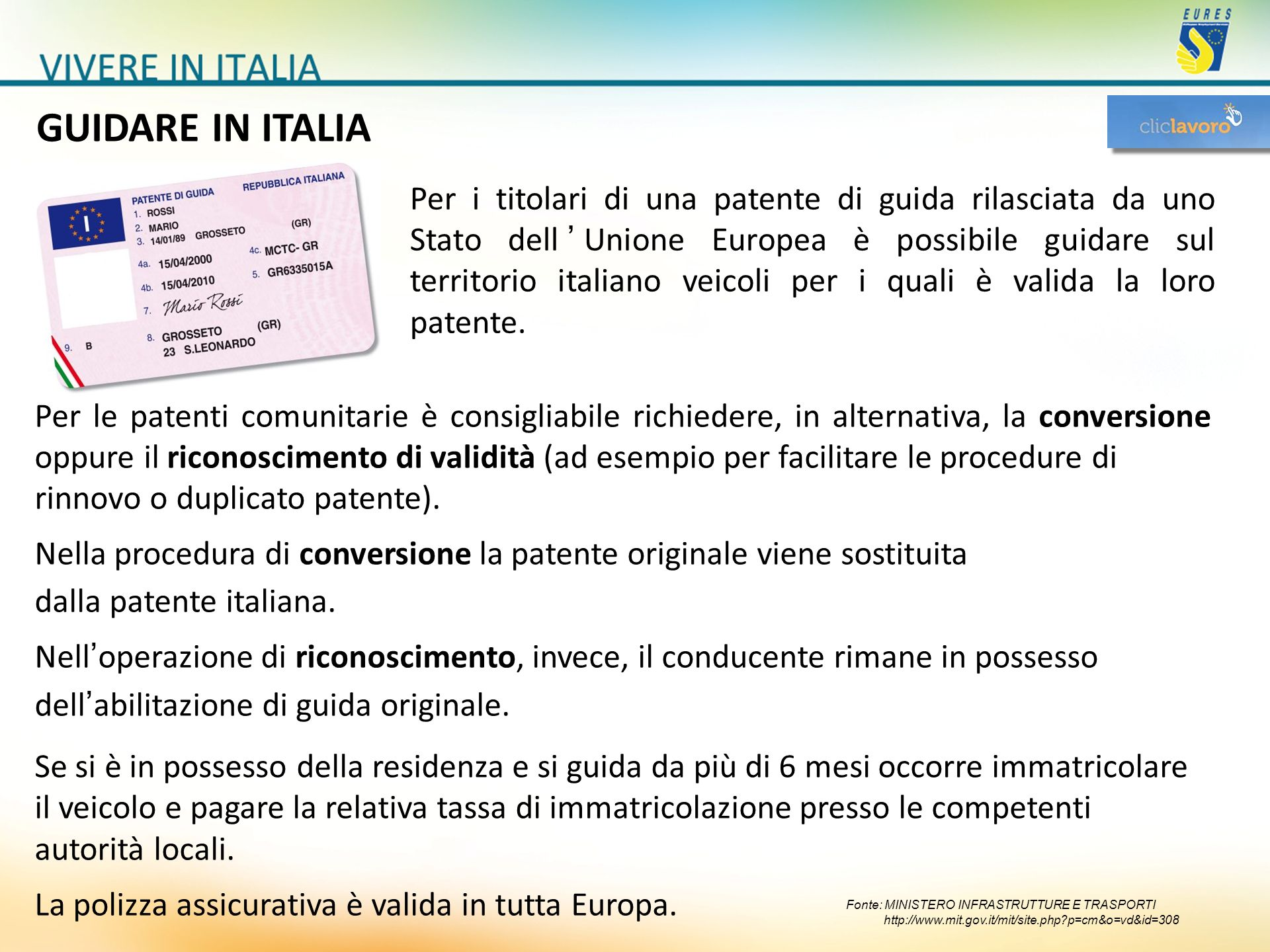 GUIDARE IN ITALIA