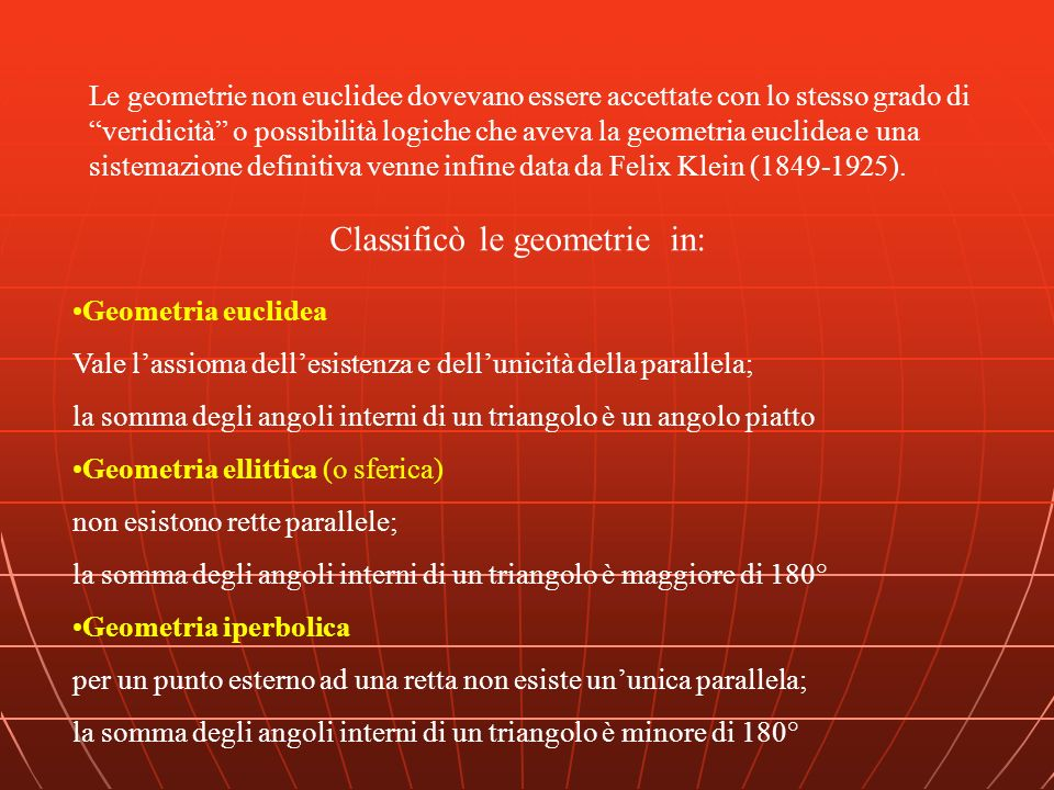 Classificò le geometrie in: