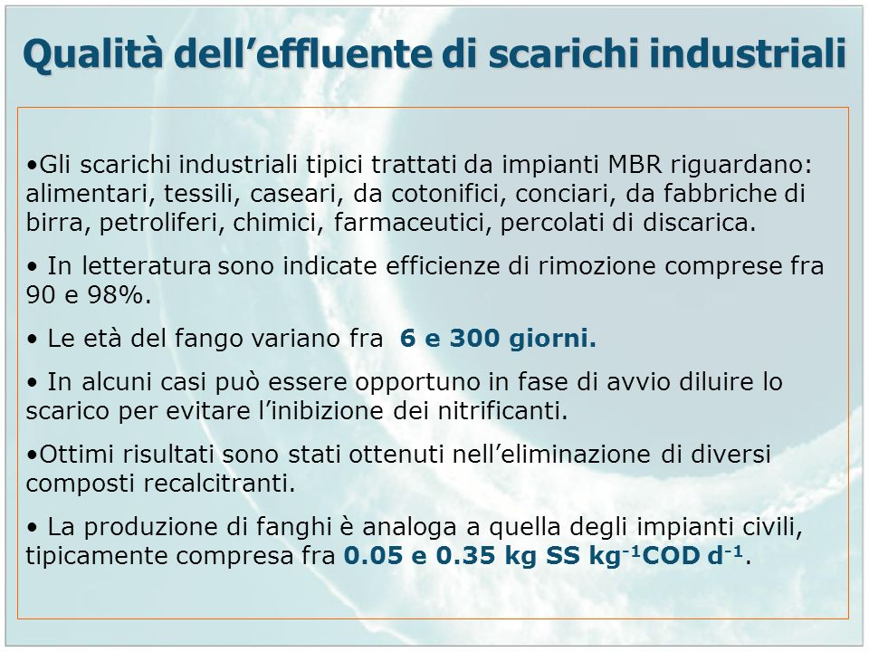 Qualità dell'effluente di scarichi industriali