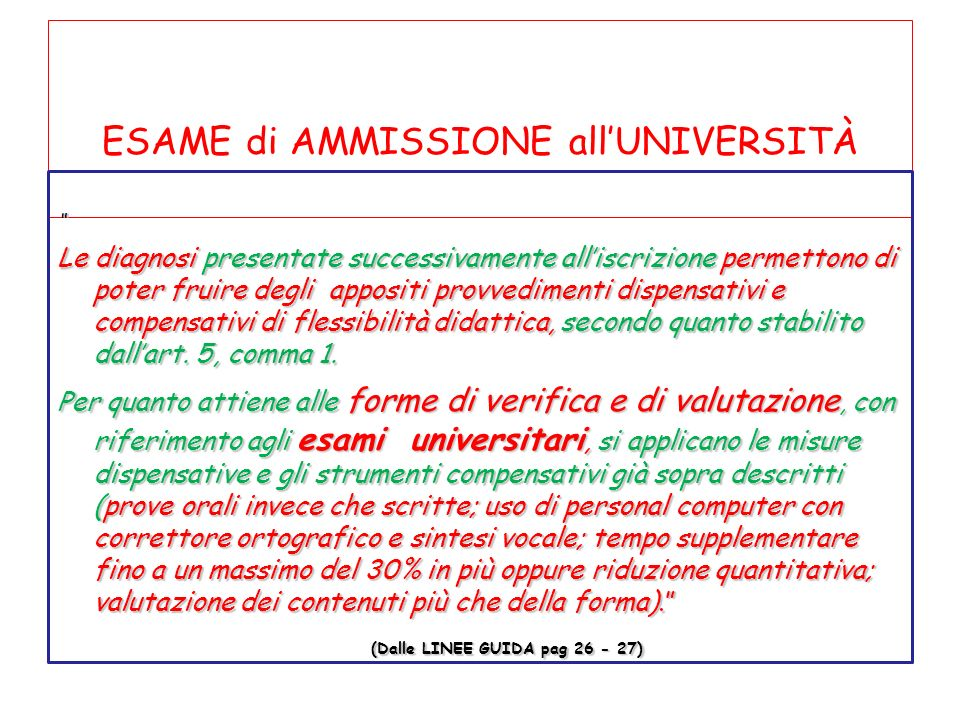 ESAME di AMMISSIONE all'UNIVERSITÀ