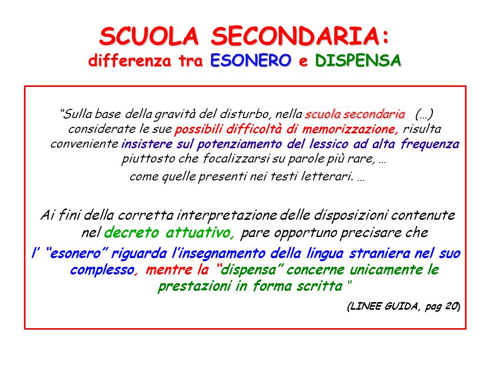 SCUOLA SECONDARIA: differenza tra ESONERO e DISPENSA