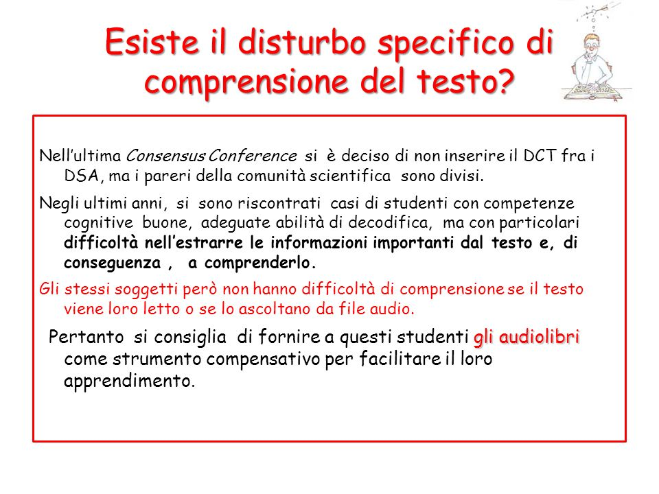 Esiste il disturbo specifico di comprensione del testo