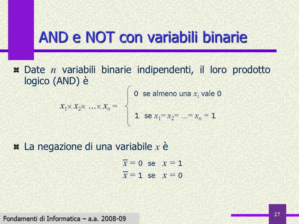 AND e NOT con variabili binarie