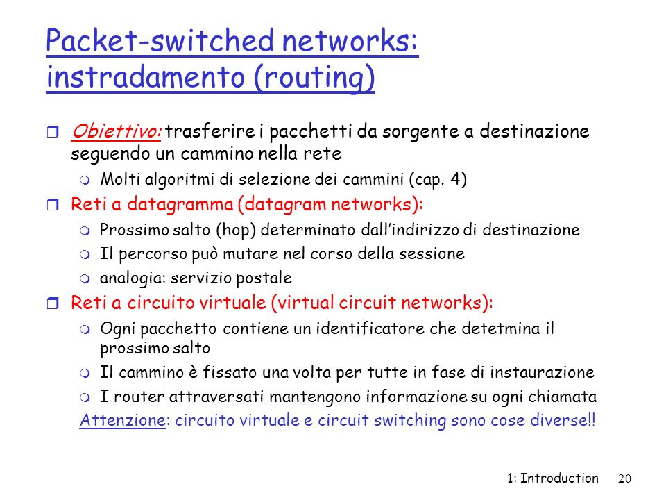 Packet-switched networks: instradamento (routing)