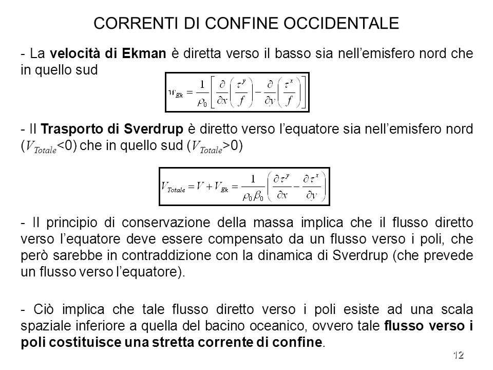 CORRENTI DI CONFINE OCCIDENTALE