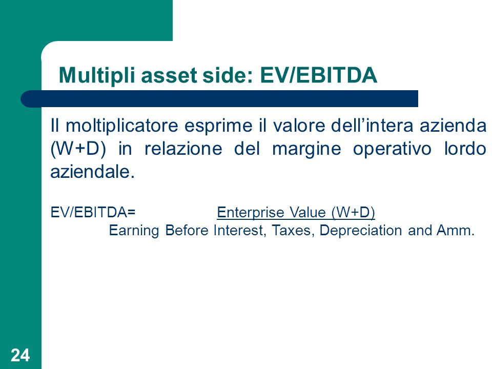 Multipli asset side: EV/EBITDA