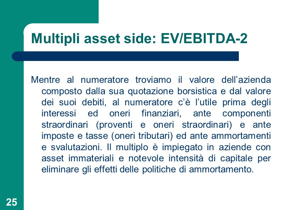 Multipli asset side: EV/EBITDA-2