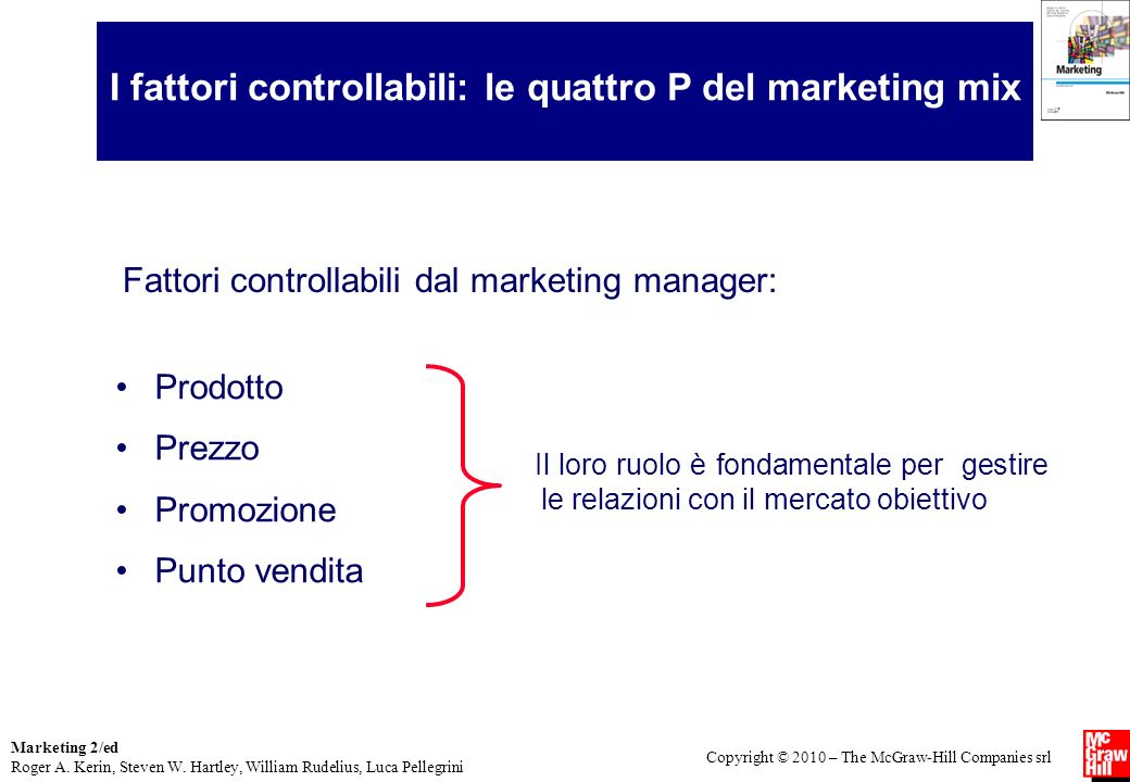 I fattori controllabili: le quattro P del marketing mix