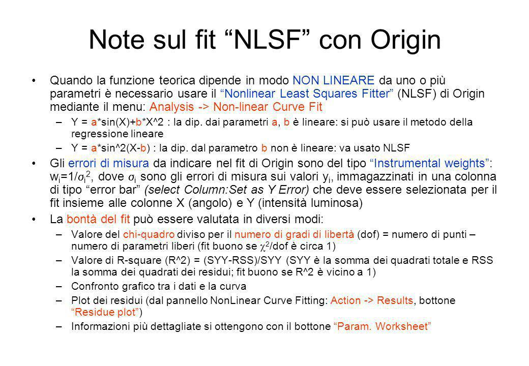 Note sul fit NLSF con Origin