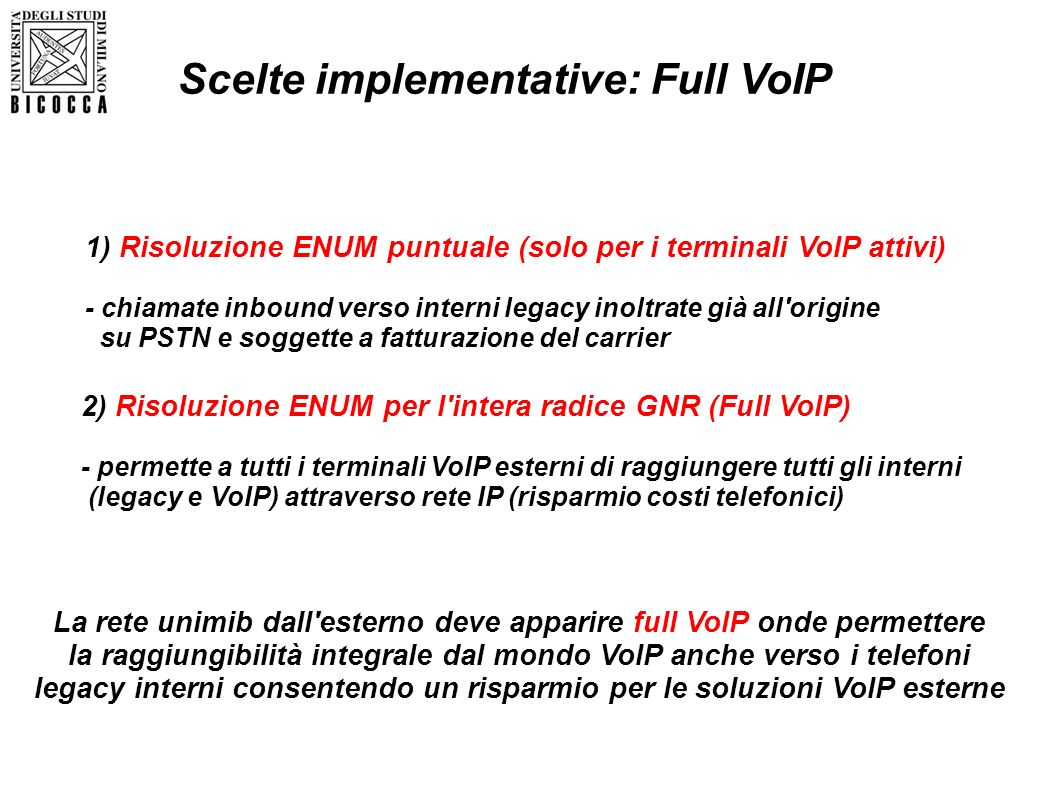 Scelte implementative: Full VoIP