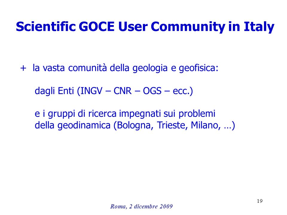 Scientific GOCE User Community in Italy