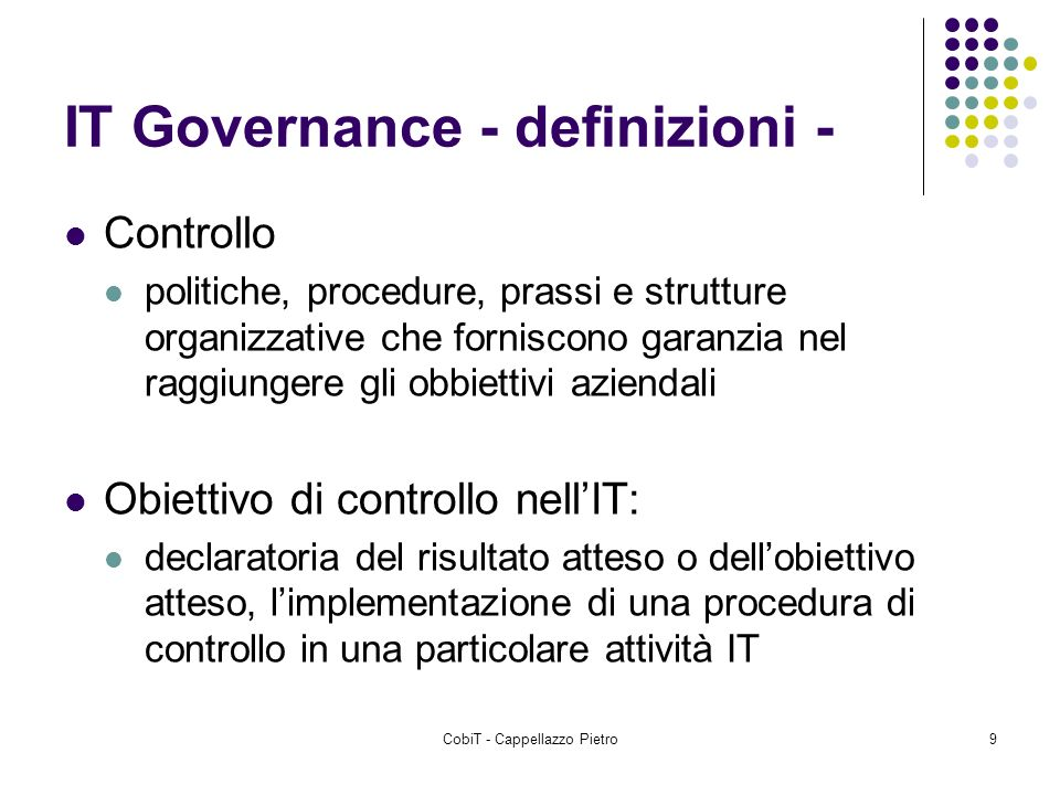 IT Governance - definizioni -