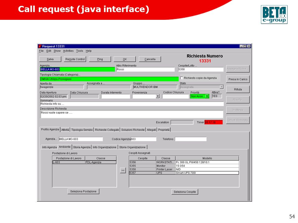 Call request (java interface)