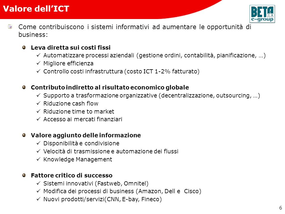 Beta80 e-group Valore dell'ICT. Come contribuiscono i sistemi informativi ad aumentare le opportunità di business: