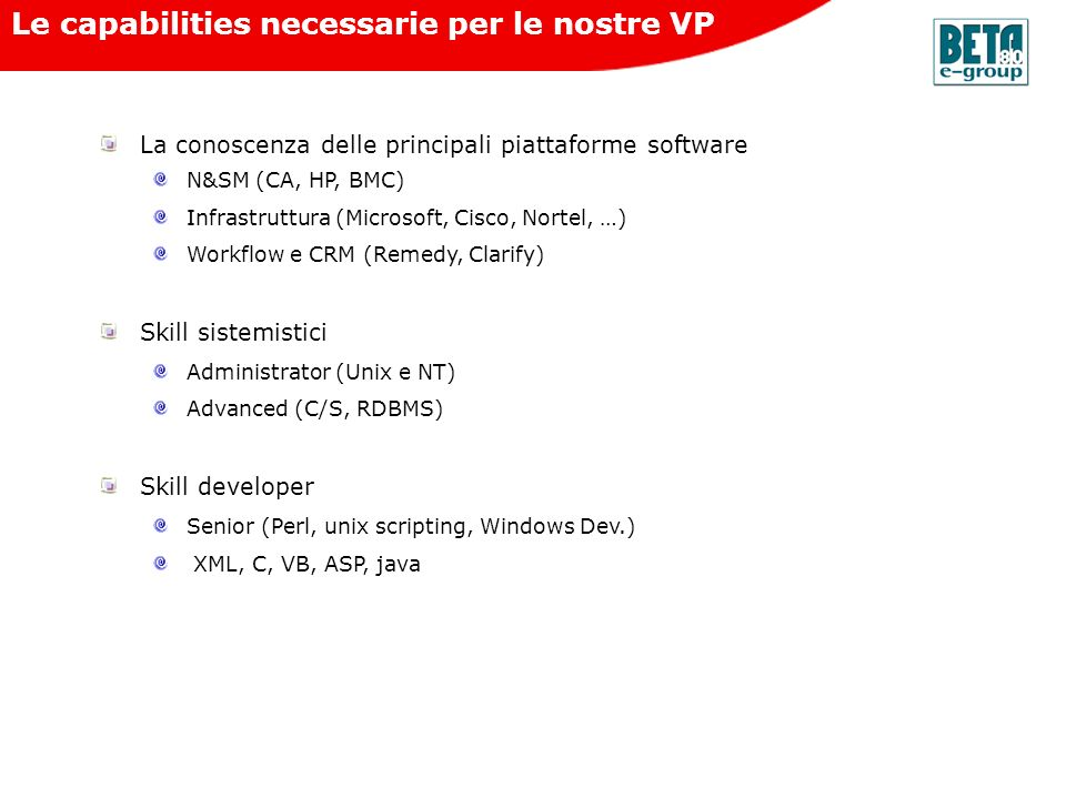 Le capabilities necessarie per le nostre VP