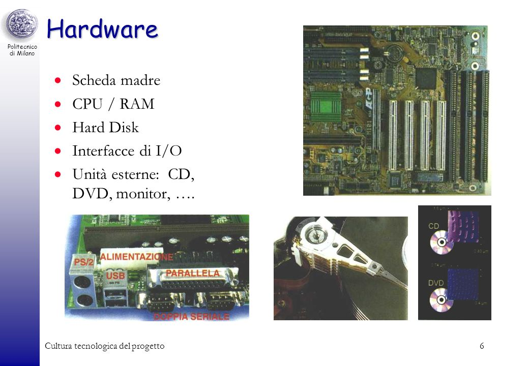 Hardware Scheda madre CPU / RAM Hard Disk Interfacce di I/O