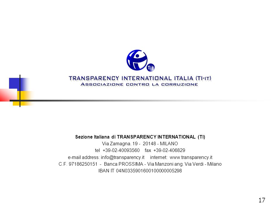 Sezione Italiana di TRANSPARENCY INTERNATIONAL (TI)
