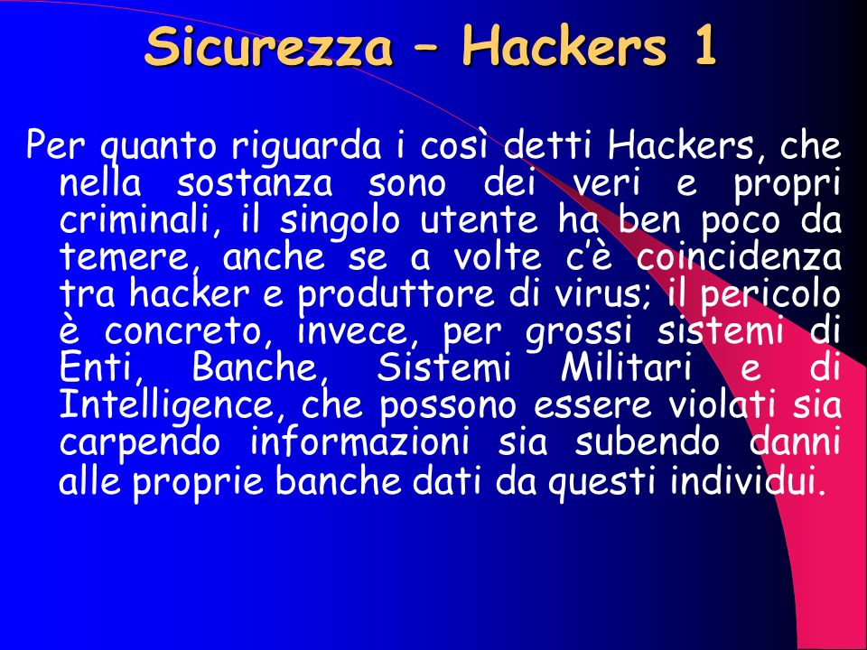 Sicurezza – Hackers 1