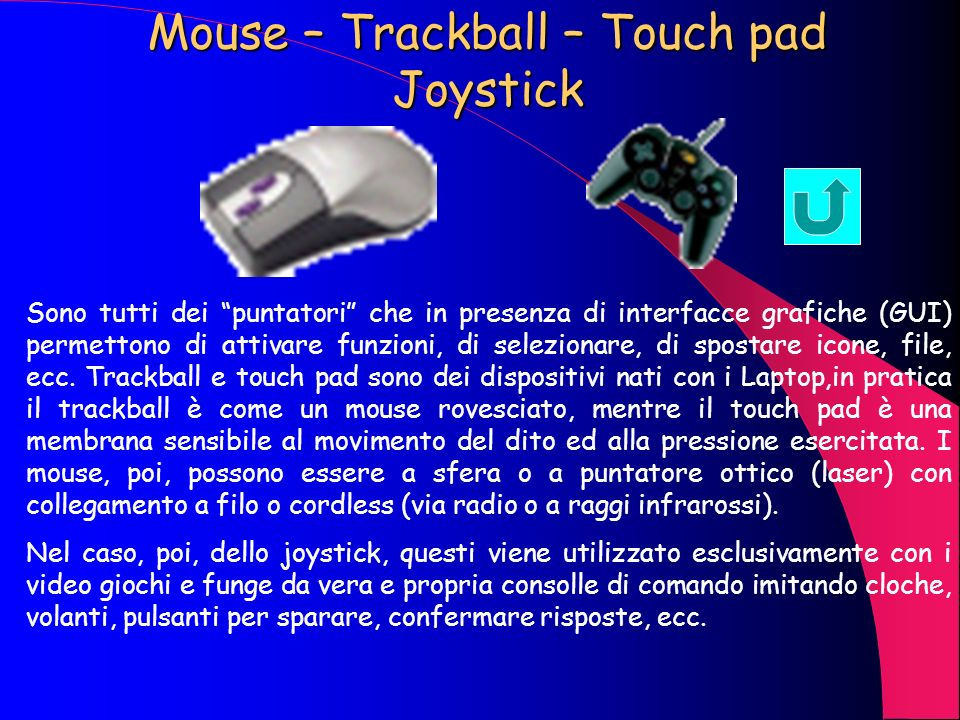 Mouse – Trackball – Touch pad Joystick