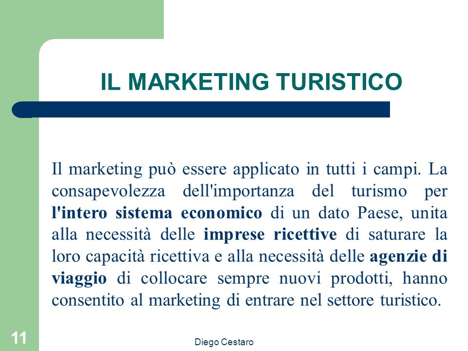 IL MARKETING TURISTICO