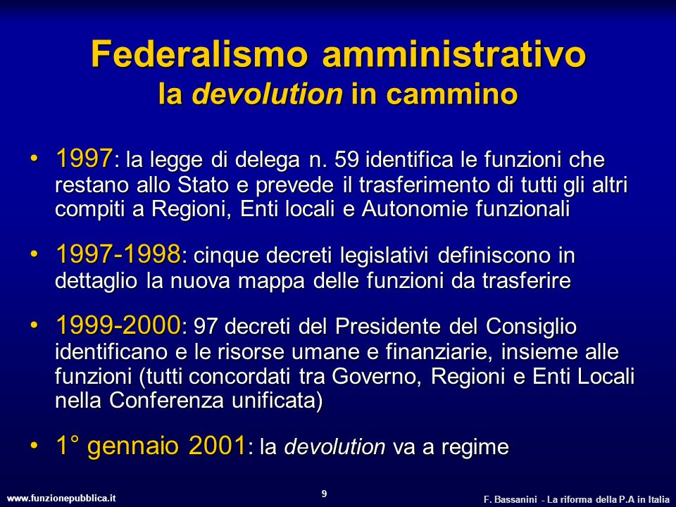 Federalismo amministrativo la devolution in cammino