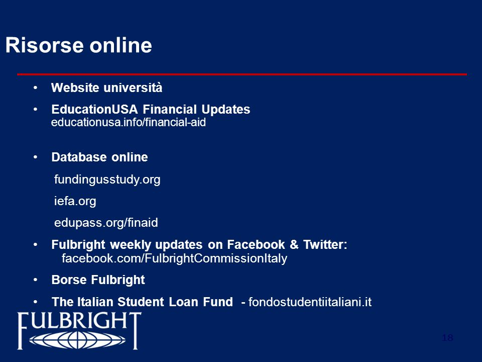 Risorse online Website università