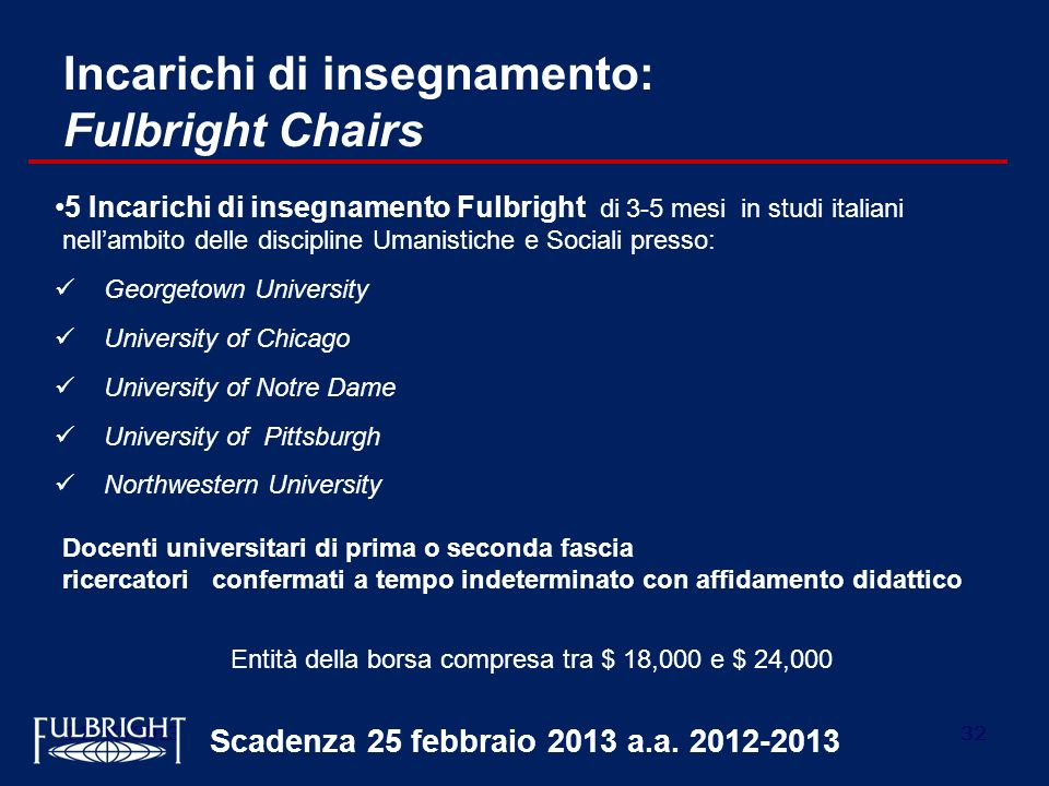 Incarichi di insegnamento: Fulbright Chairs
