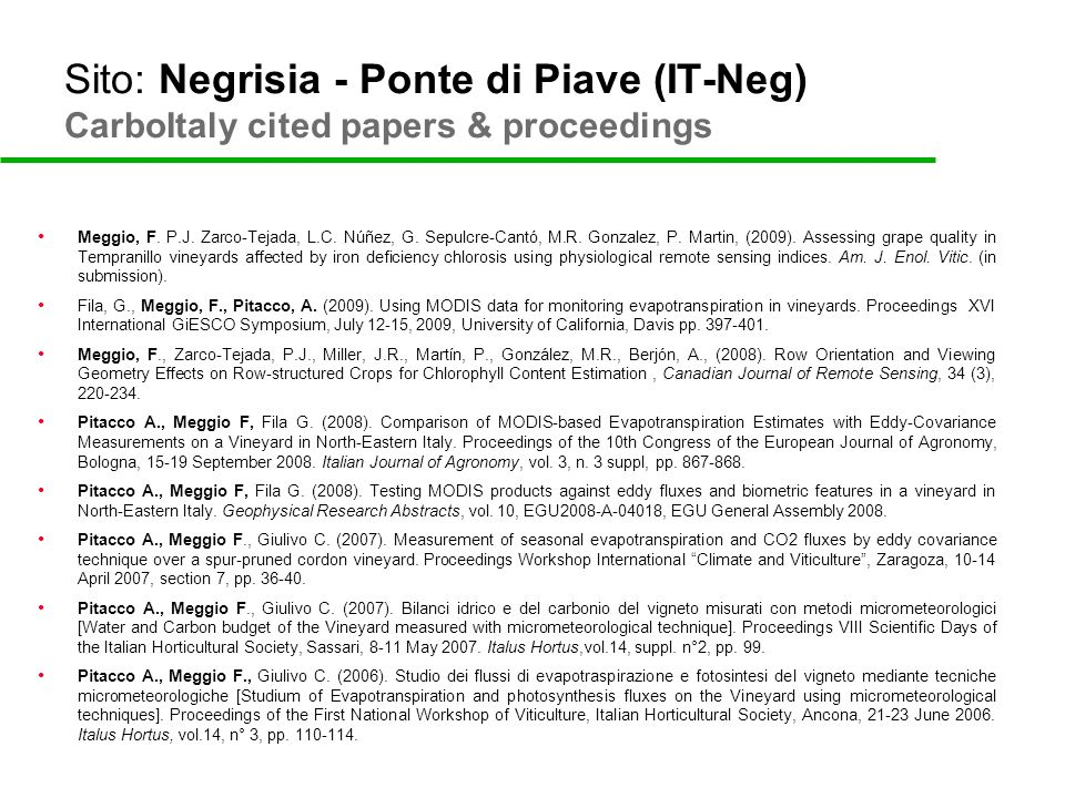 Sito: Negrisia - Ponte di Piave (IT-Neg) CarboItaly cited papers & proceedings