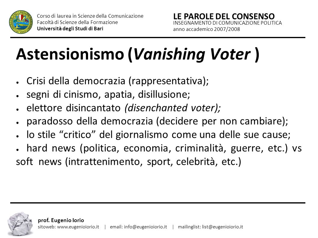 Astensionismo (Vanishing Voter )