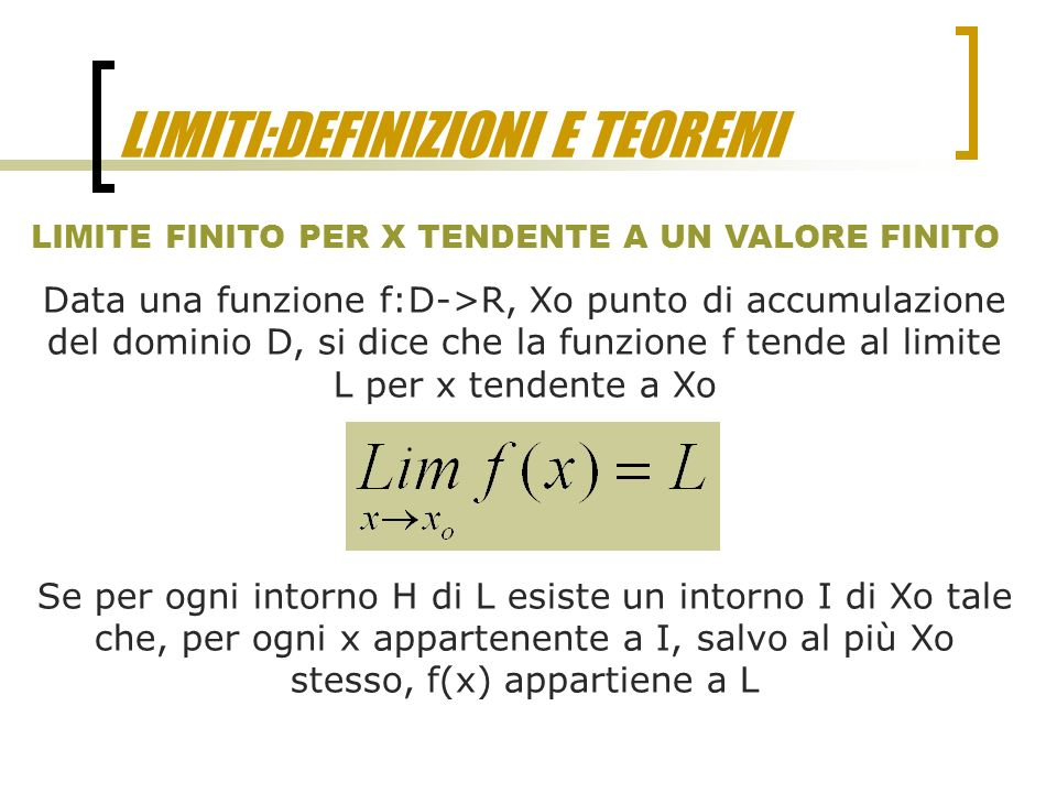 Limite Finito Per X Che Tende A Un Valore Finito.Limiti Definizioni E Teoremi Ppt Video Online Scaricare