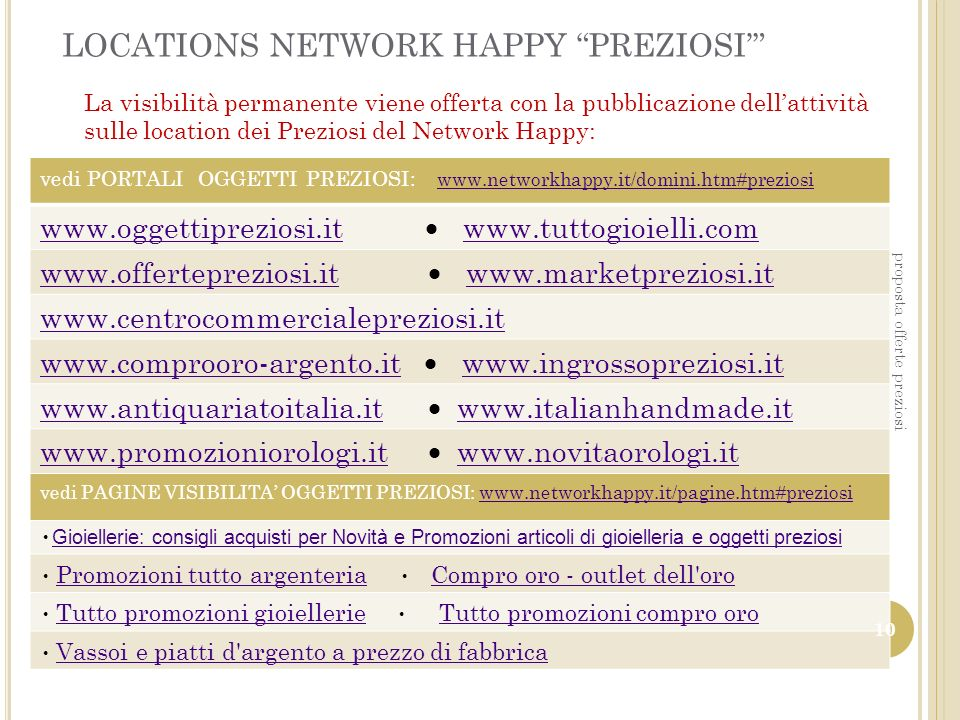 LOCATIONS NETWORK HAPPY PREZIOSI'