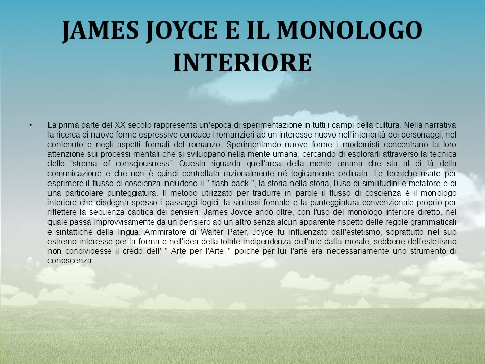 JAMES JOYCE E IL MONOLOGO INTERIORE