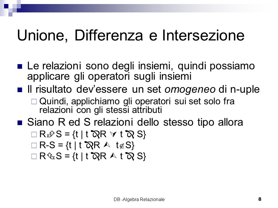Unione, Differenza e Intersezione