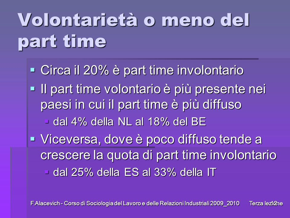 Volontarietà o meno del part time