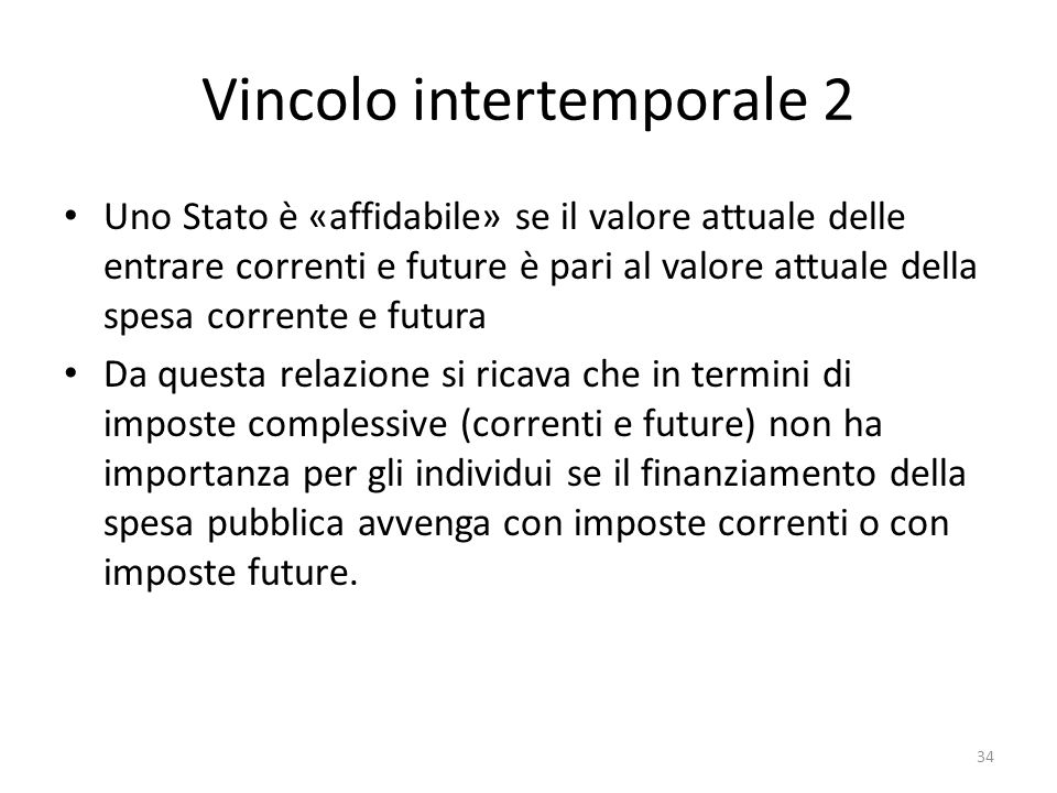 Vincolo intertemporale 2