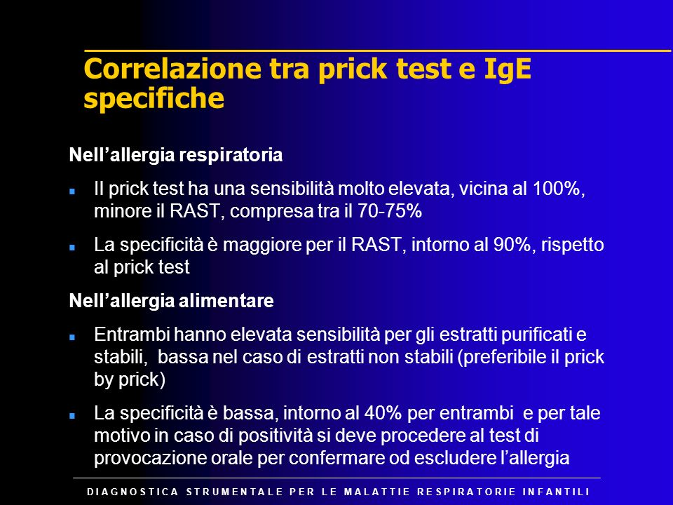 Correlazione tra prick test e IgE specifiche