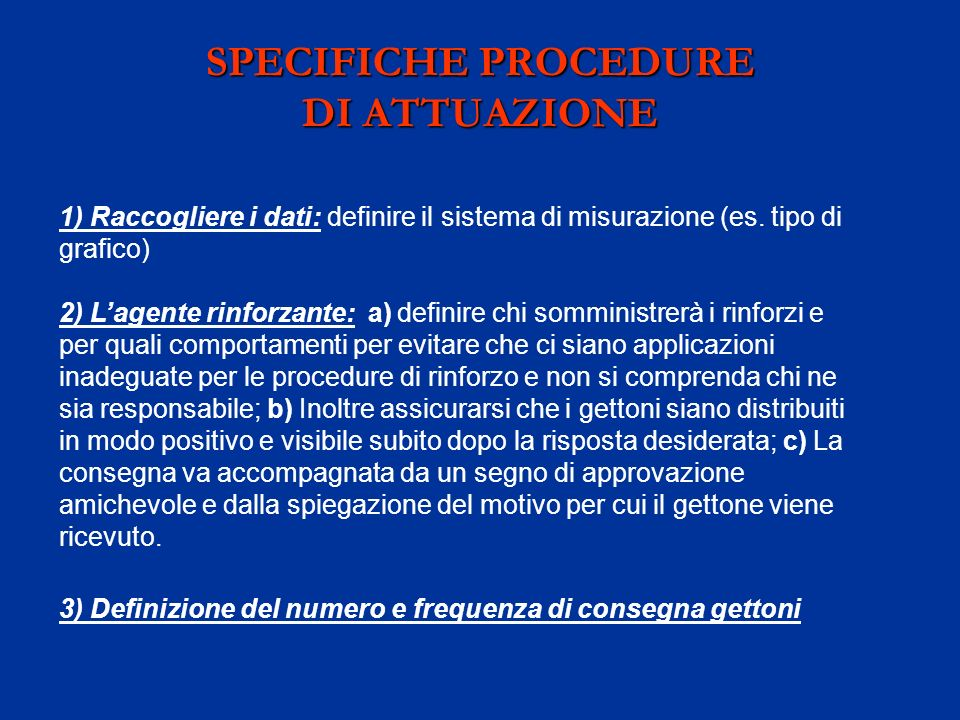 SPECIFICHE PROCEDURE DI ATTUAZIONE