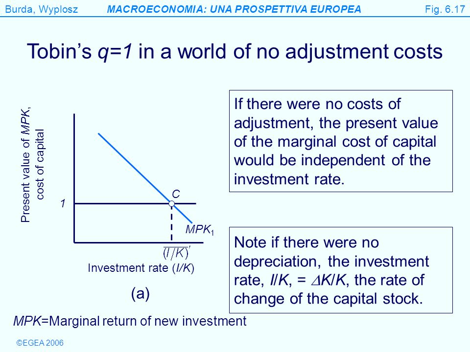 Figure 6.17 Tobin's q=1 in a world of no adjustment costs