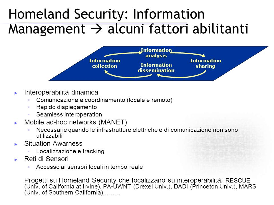 Homeland Security: Information Management  alcuni fattori abilitanti