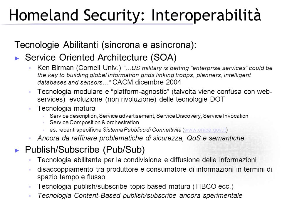 Homeland Security: Interoperabilità